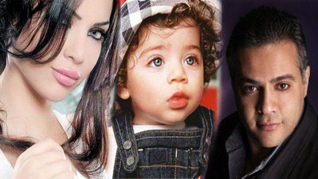 قمر مع زوجها السابق جمال مروان وابنهما جيمي