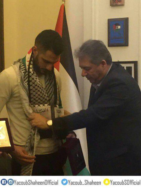 يعقوب شاهين برفقة السفير الفلسطيني في لبنان