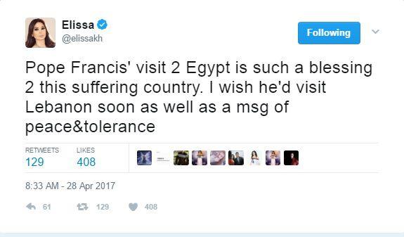 إليسا: زياة البابا فرنسيس إلى مصر نعمة