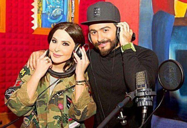 النجم المصري تامر حسني برفقة النجمة اللبنانية إليسا في الإستديو