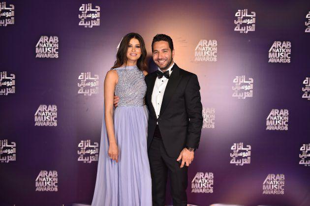 الإعلامي اللبناني وسام بريدي برفقة خطيته ريم السعيدي