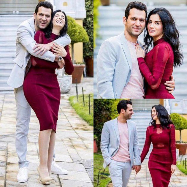 النجم التركي مراد يلدريم وزوجته ملكة جمال المغرب إيمان الباني بلقطات رومانسية، وتظهر إيمان فيها ببطن مسطح