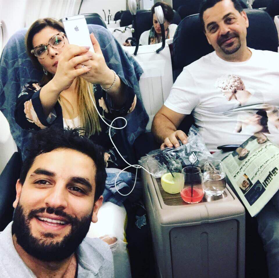 أصالة نصري مع زوجها طارق العريان وشقيقها أنس نصري