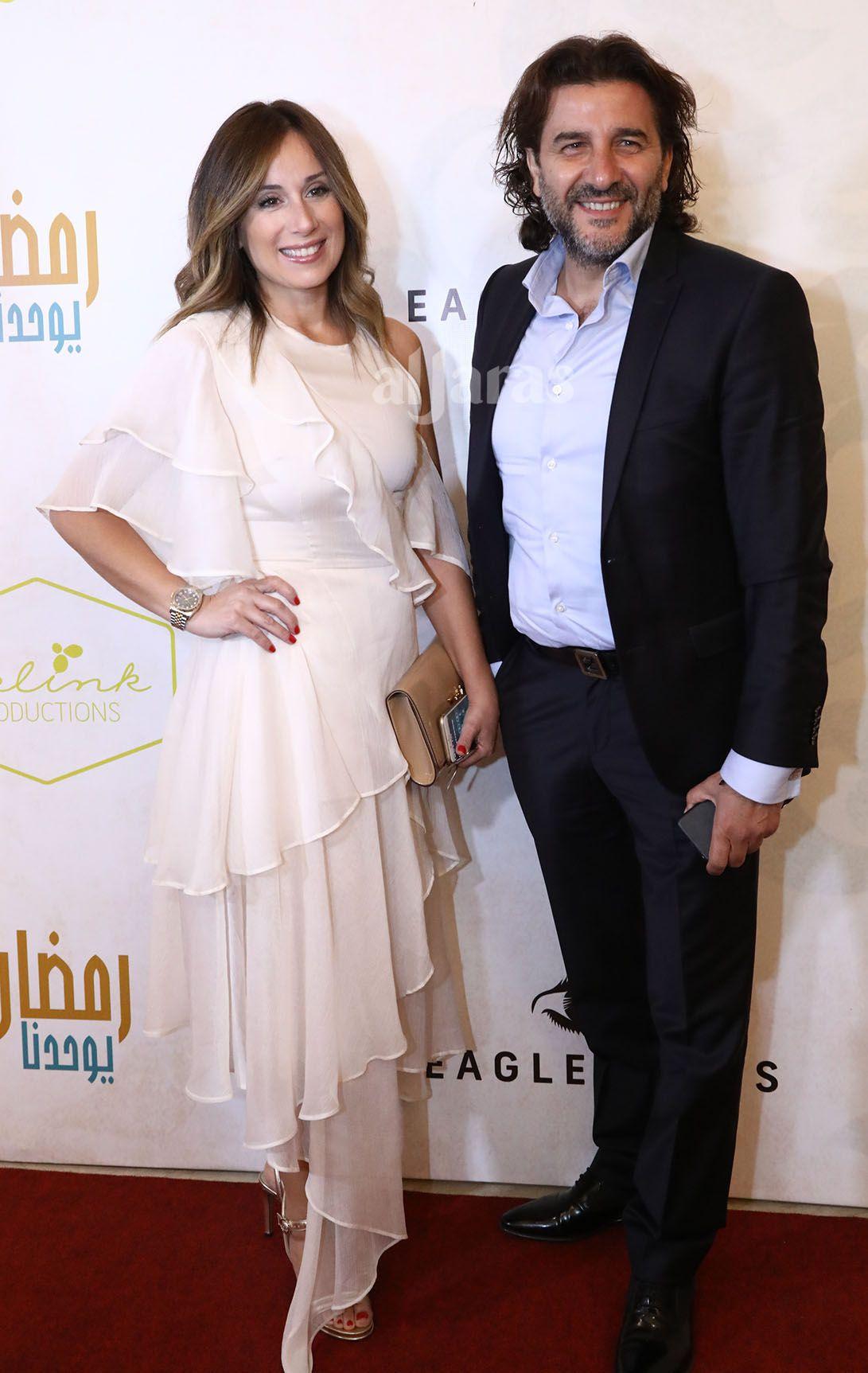 النجمة اللبنانية كارين رزق الله وزوجها فادي شربل