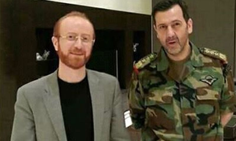 العميد السوري ماهر الأسد والنجم السوري مصطفى الخاني