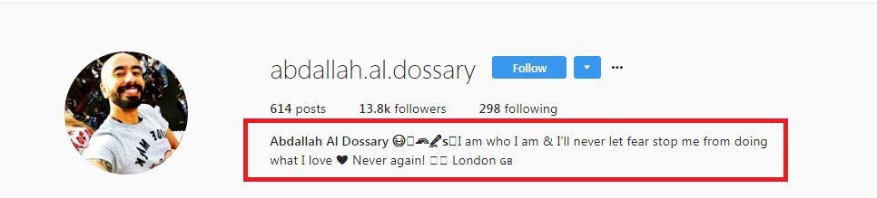 ما كتبه عبدالله الدوسري على صفحته على الإنستغرام