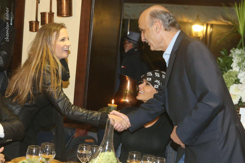 رئيس حزب القوات اللبنانية سمر جعجع يعايد تانيا قسيس