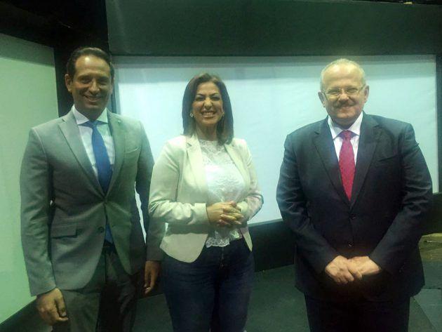 محمد عثمان الخشت برفقة الإعلامي أحمد سالم والإعلامية دينا عبد الكريم