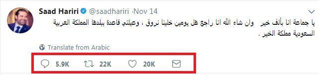 تغريدة سعد الحريري تحقق رقماً قياسياً