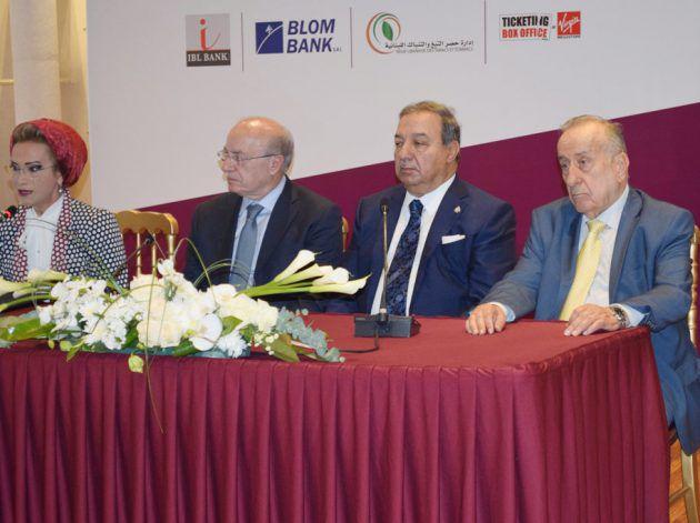 نقيب الصحافيين عوني الكعكي، وزير الثاقفة غطاس خوري والسيدة رندة بري