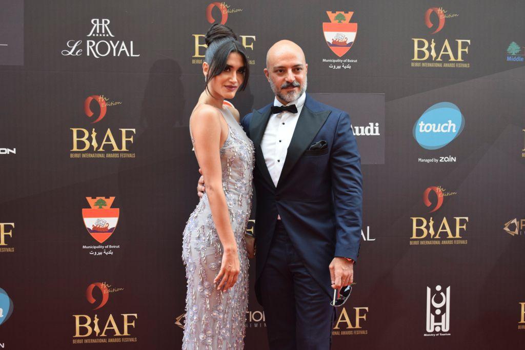 الممثل اللبناني كميل متى وزوجته