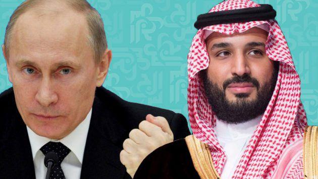 محمد بن سلمان يصافح بوتين بعد هدف روسيا في المونديال