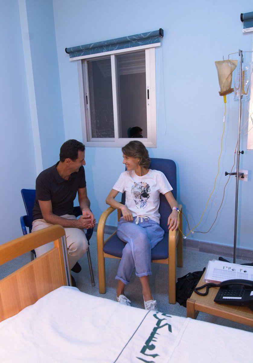 الرئيس السوري بشار الأسد وزوجته أسماء الأسد في المستشفى لتلقي العلاج