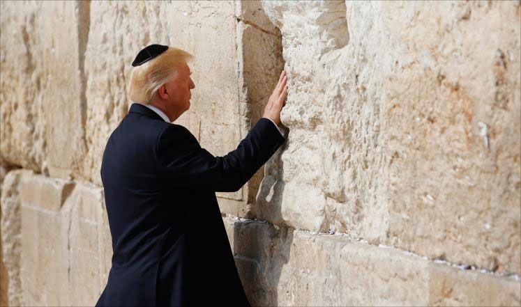 ترامب في إسرائل - الأراضي المحتلة برفقة الحاخام-2017