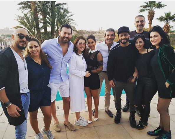 عمرو يوسف وكندة علوش مع شيرين وتامر حسني وزوجته