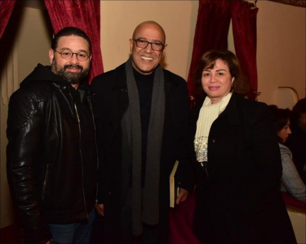 امير شاهين وشقيقته الهام شاهين مع اشرف عبد الباقي