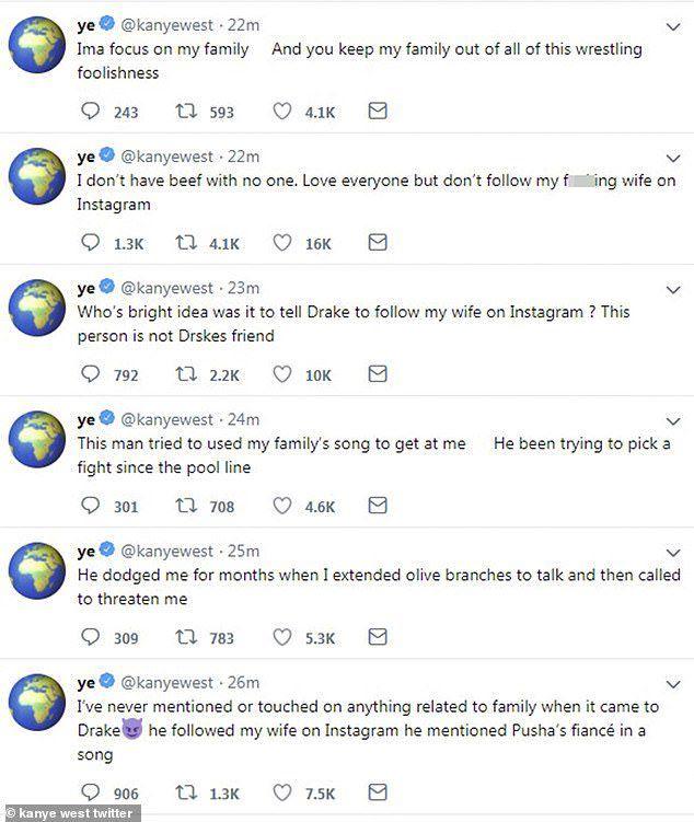 تغريدات كاني ويست قبل أن يحذفها