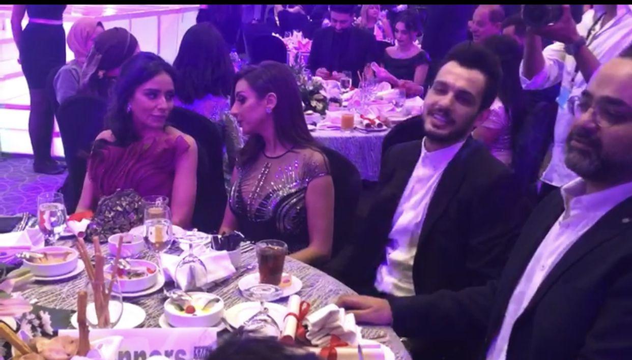 أنغام وزوجها في حفل الميما أوردز