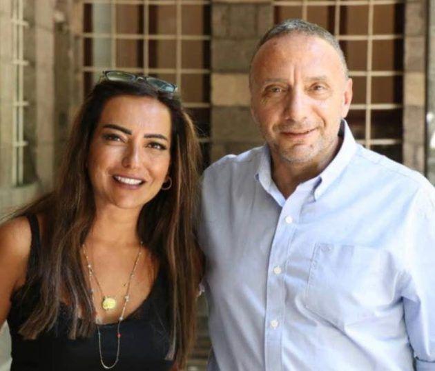 النجمة السورية أمل عرفة برفقة المخرج باسل الخطيب