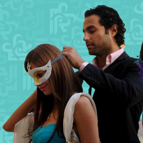 كريم فهمي وزوجته في المسبح - صورة