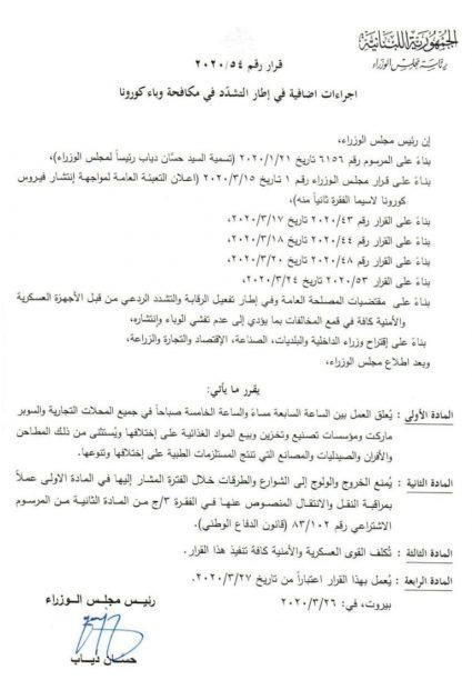 قرار الحكومة اللبنانية يشي بأن الكورونا فيروس ليلي!