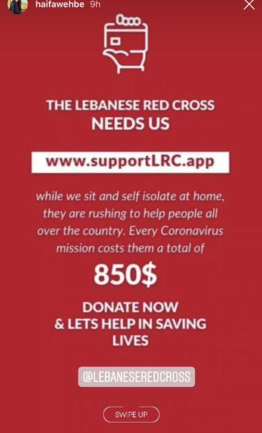 هيفا وهبي تطلبت التبرع للصليب الأحمر اللبناني