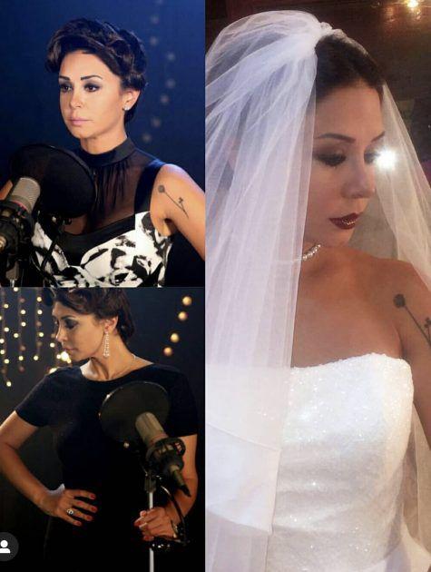 كاريس بشار بفستان الزفاف