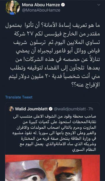 منى أبو حمزة وليد جنبلاط