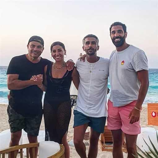 عمرو دياب ودينا الشربيني في عطلة صيفية - صورة