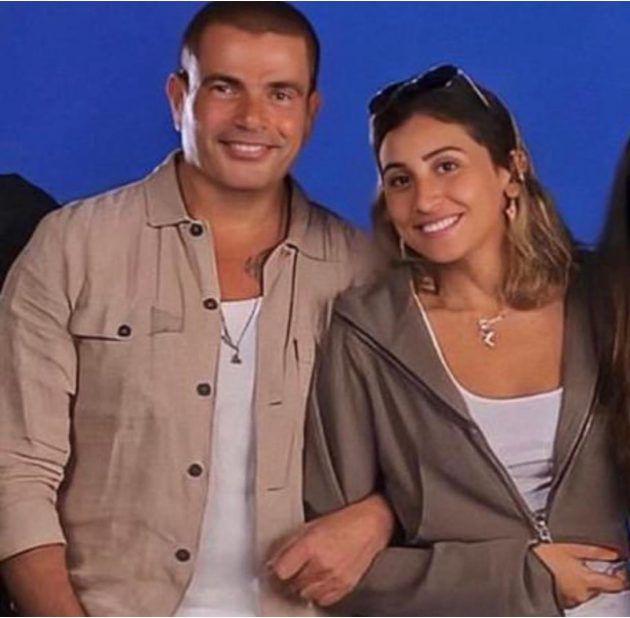دينا الشربيني مع عمرو دياب في الكواليس - صورة