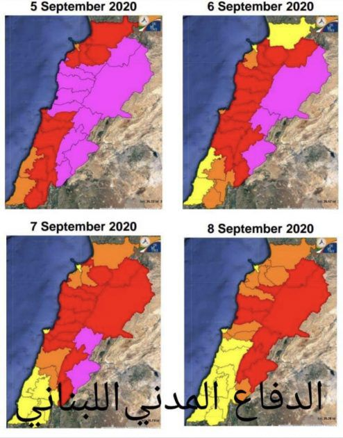 الخريطة التي نشرتها مديرية الدفاع المدني