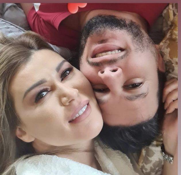 نادين الراسي وخطيبها بصورة رومانسية