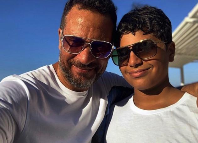 ماجد المصري مع ابنه